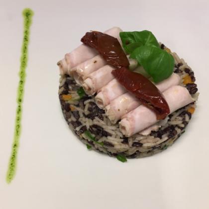 Softcooker Wi-food, Sous Vide cooking, ricetta: Pollo alla griglia con burgul e verdure al curry e insalatina di stagione Autore:Simone Gambacorta